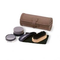 eBuyGB 5 Piece Luxurious Shoe Shine Polish Kit in a PU Leather Case (Brown)